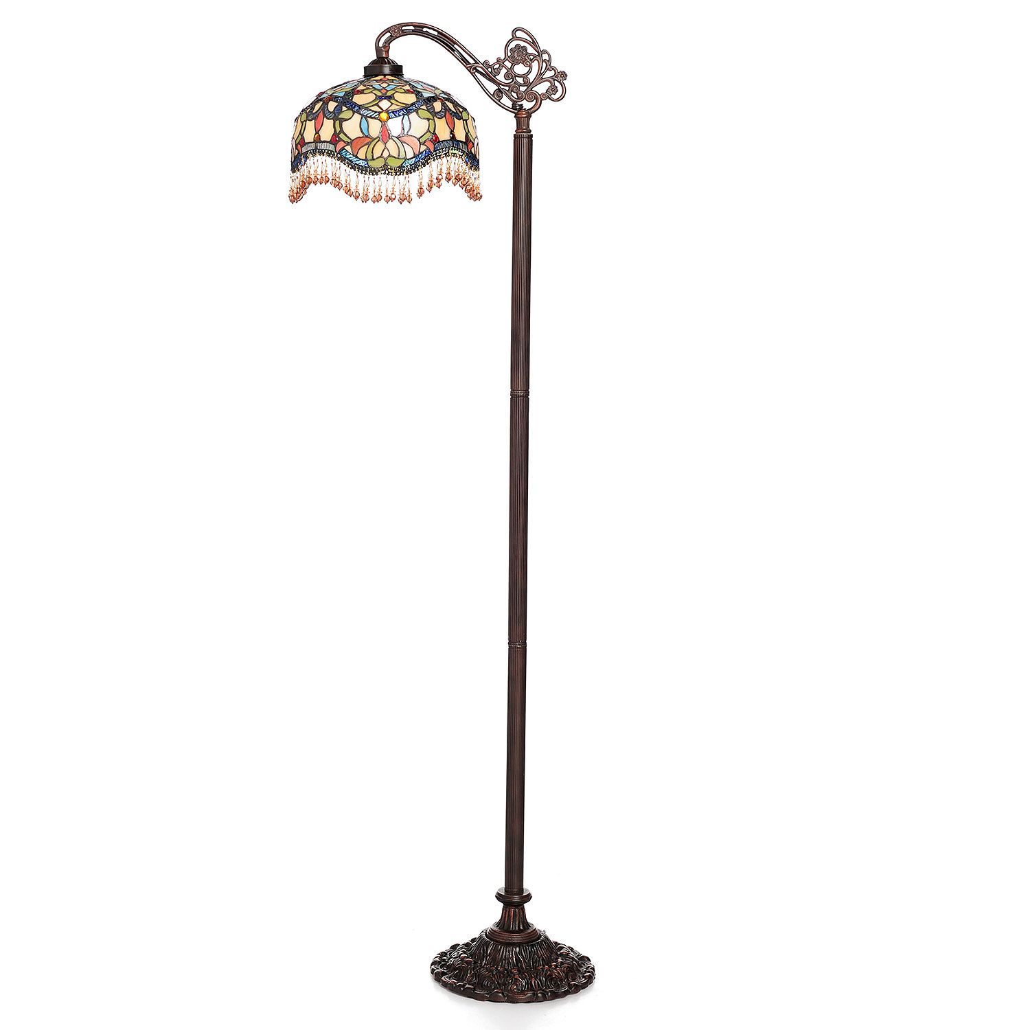 "Tiffany-Style 60.5"" Armeya Stained Glass Beaded Side Arm Flo"