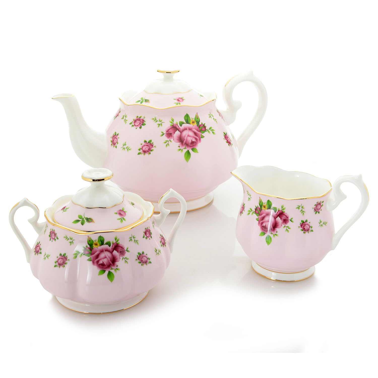 Royal Albert New Country Roses 3-Piece Bone China Tea Set