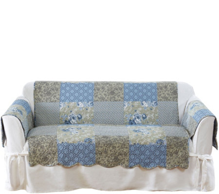Peachy Details About Sure Fit Heirloom Printed Patchwork Loveseat Cover Blue Nb Squirreltailoven Fun Painted Chair Ideas Images Squirreltailovenorg